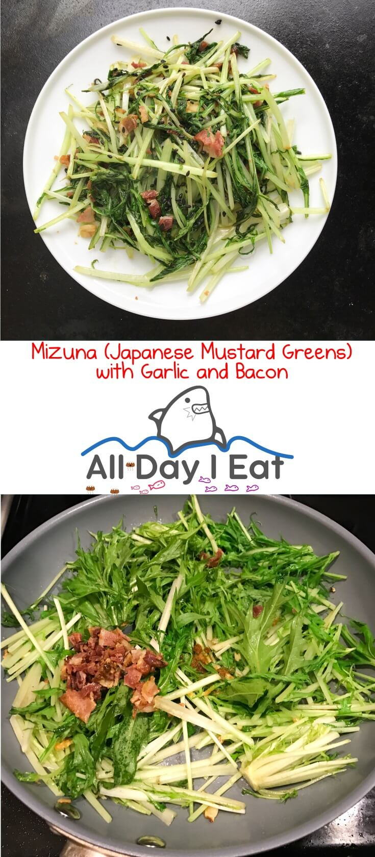 Mizuna (Japanese Mustard Greens) with Garlic and Bacon. A tasty way to get some more vegetables into your diet. | www.alldayieat.com