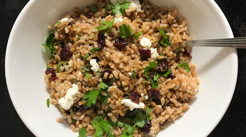 Warm Farro Salad with Fresh Herbs, Goat Cheese and Dried Cherries | www.alldayieat.com
