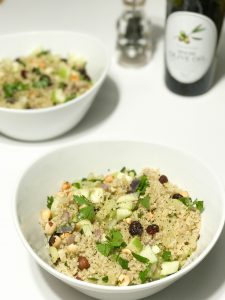 Warm Autumn Quinoa Salad with Hazelnuts, Apple, and Cranberries | www.alldayieat.com
