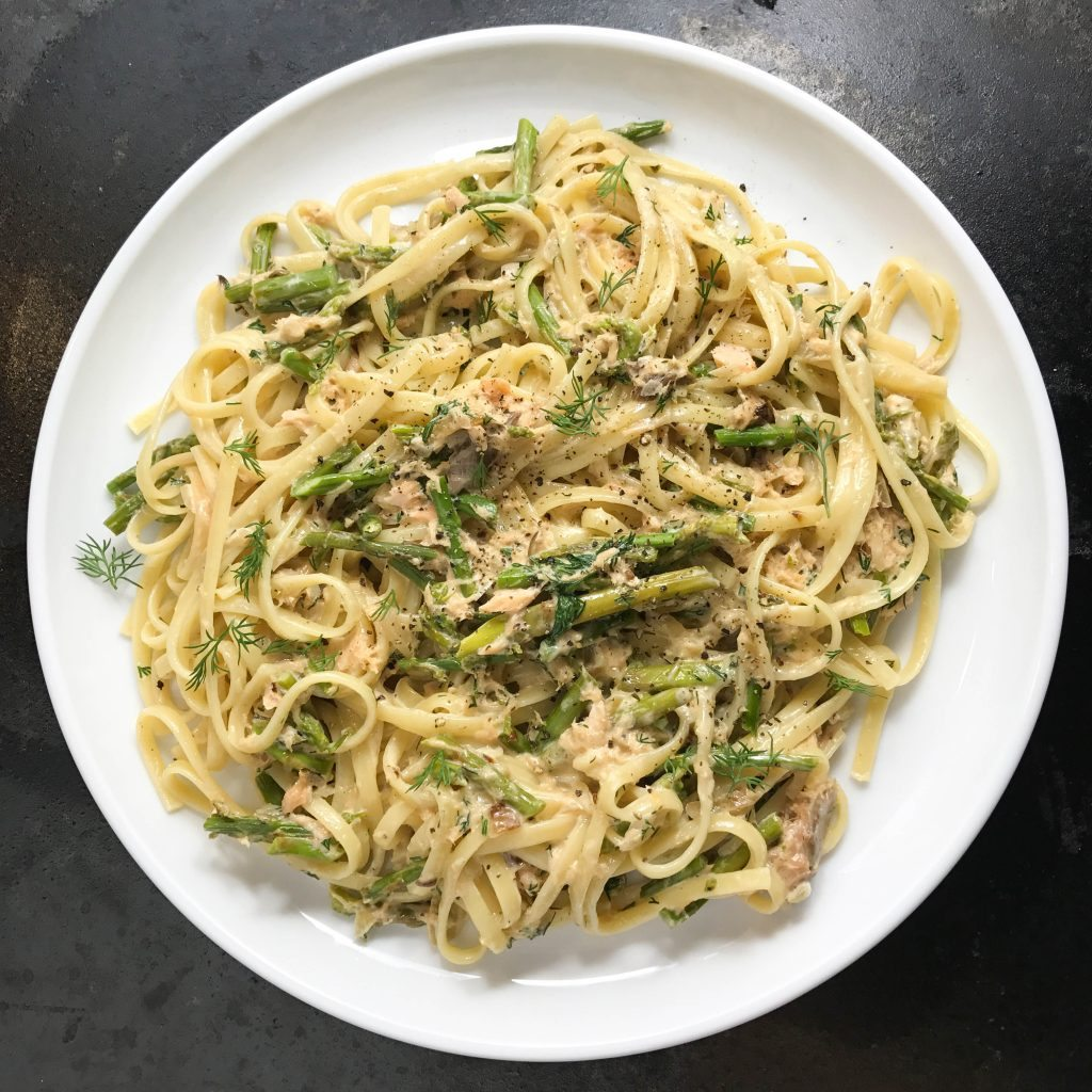 Fresh Fettuccine with Asparagus, Dill, and Smoked Salmon