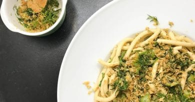 Bucatini with Fresh Herbs and Zesty Breadcrumbs