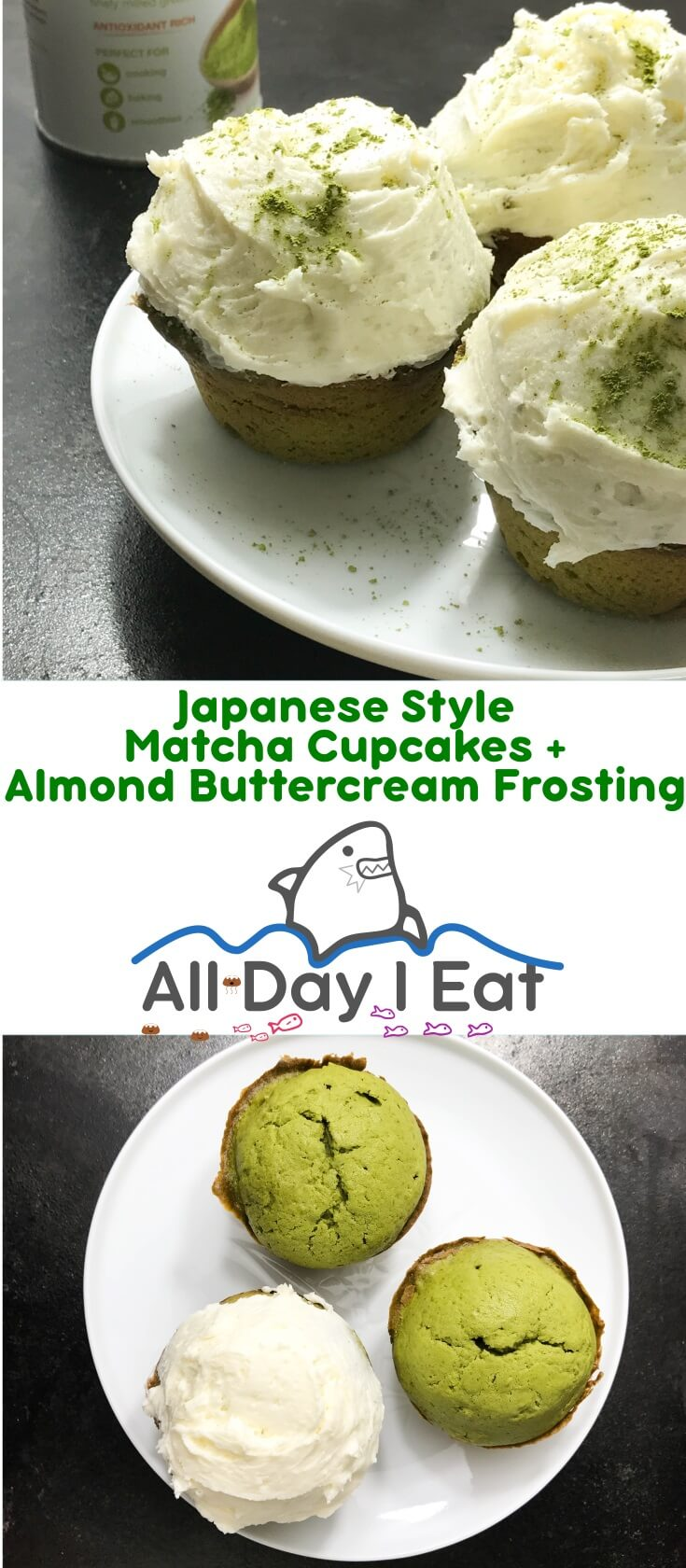 Japanese Style Matcha Cupcakes with Almond Buttercream Frosting. Increase your tea intake and enjoy the taste of these light, fluffy green cupcakes that are perfectly topped with aromatic almond frosting | www.alldayieat.com