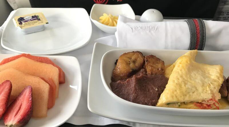 taca business class meal bogota colombia