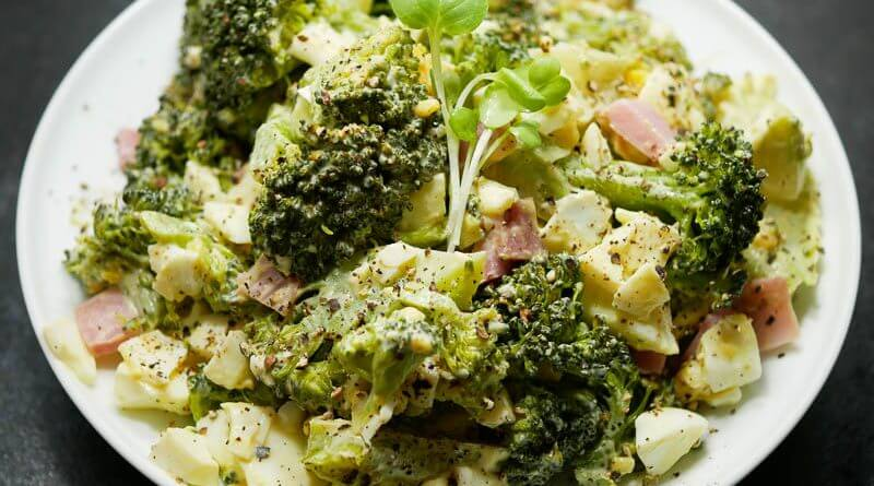 Japanese Style Broccoli Salad with Egg and Ham-2