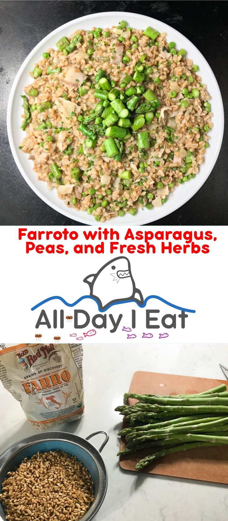 Farroto with asparagus, peas, and fresh herbs is the perfect weeknight meal for those who love the little grain called farro. The earthy nutty flavor of farro is complemented by blanched, slightly crunchy green asparagus, green peas, and prosciutto. This is definitely one of my favorite farro recipes! | www.alldayieat.com