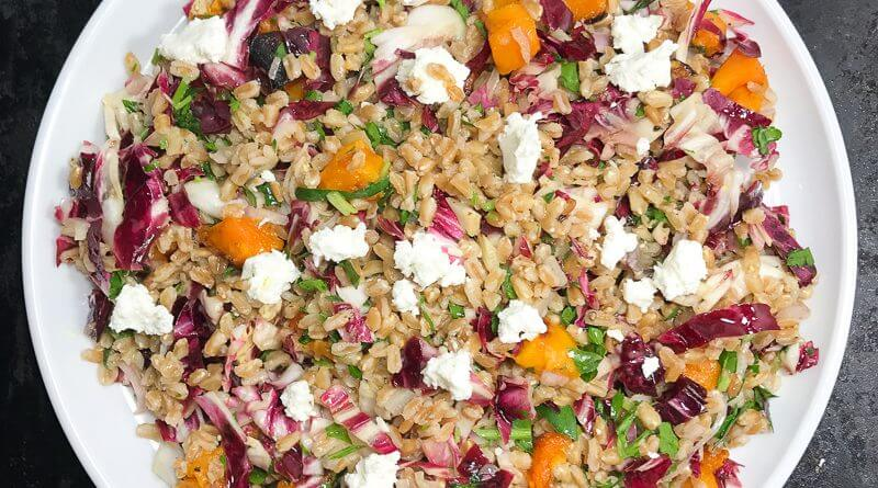 Warm Farro salad with Butternut Squash and Radicchio