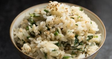 Shungiku Mazegohan | Japanese Mixed Rice with Chrysanthemum Greens